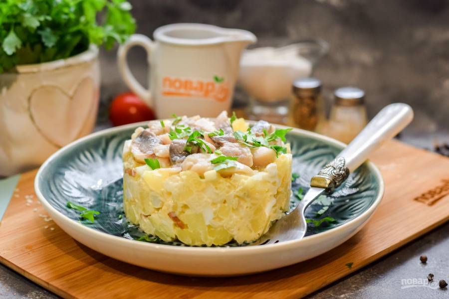 Норвежский салат с сельдью