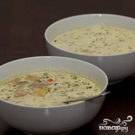 Суп готов, подавайте горячим со столовой ложкой сметаны. Приятного аппетита.