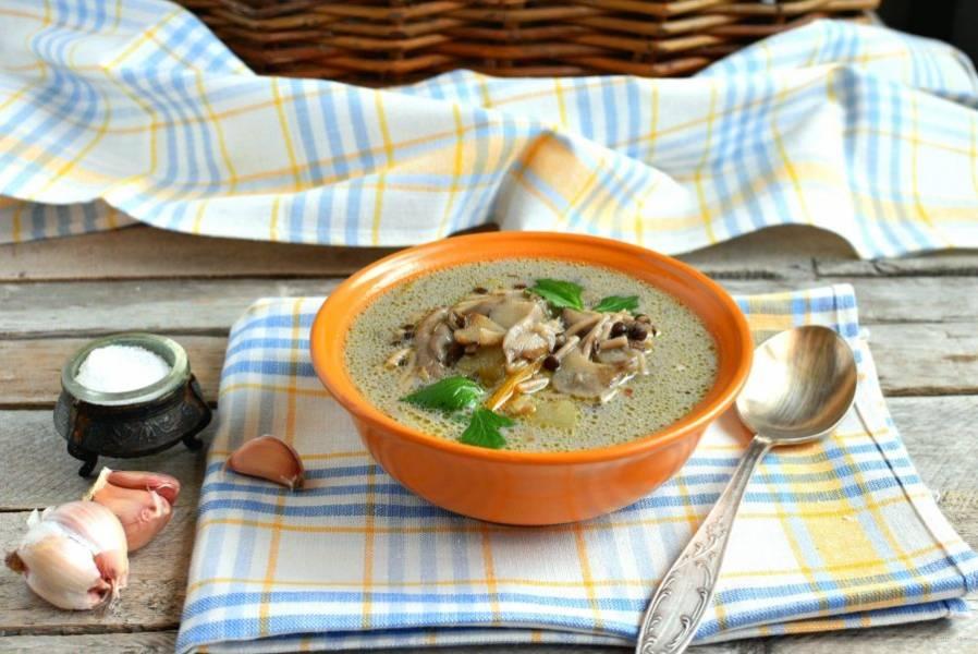 Подавайте суп горячим. Очень вкусно с черным хлебом и чесноком.