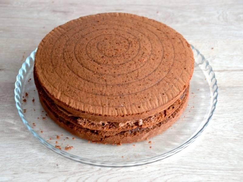 Разрежьте бисквит на 3 или 4 коржа. Смажьте коржи шоколадным кремом. Верхушку бисквита, перед тем, как разрезать,  срежьте, она пригодится для приготовления бисквитной крошки. Нижнюю ровную часть бисквита лучше использовать для верха торта.