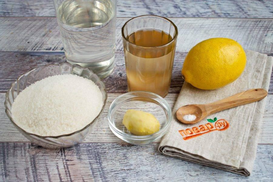 Подготовьте необходимые продукты. Агар-агар замочите в горячей воде. Имбирь очистите.