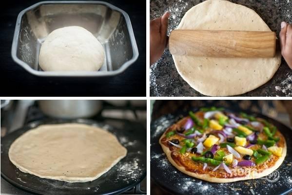4. Готовое тесто нужно тщательно размять руками, а затем тонко раскатать на присыпанной мукой поверхности. Сформируйте бортики, распределите начинку — и можно выпекать пиццу.