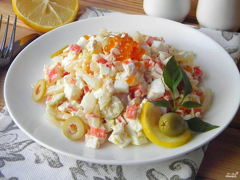 Салат с кальмарами самый вкусный