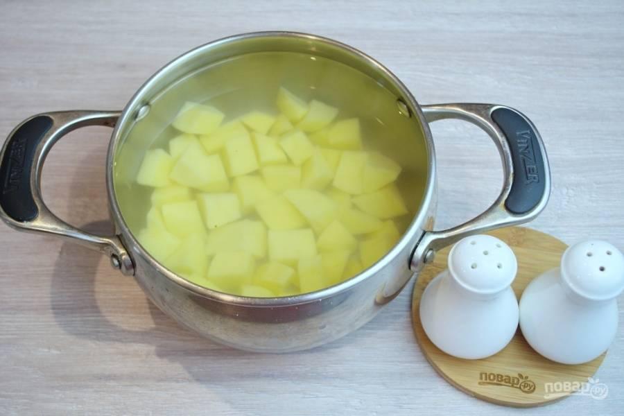 Очищенный картофель нарежьте кубиком и поместите в кастрюлю. Залейте его водой и поставьте вариться. Когда вода закипит, добавьте немного соли. Это придаст вкус не только бульону, но и самому картофелю.