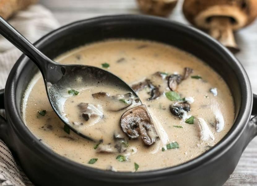 8.Добавьте в суп немного зелени и подавайте его горячим к столу.