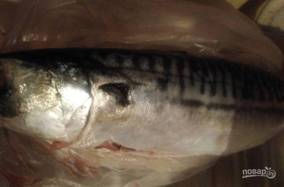 1. Поскольку скумбрия достаточно жирная, ее хорошо готовить на подушке из овощей в рукаве. Все ингредиенты в таком случае готовятся в собственном соку. Итак, почистите тушку рыбы и тщательно помойте ее.
