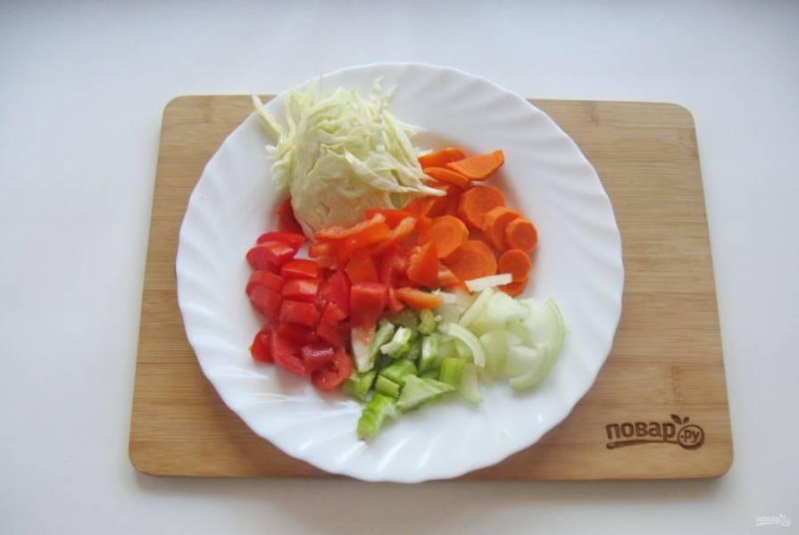 2. Овощи хорошо помойте. Морковь нарежьте кружками, капусту нашинкуйте соломкой, перец, сельдерей, помидоры, лук нарежьте произвольно.