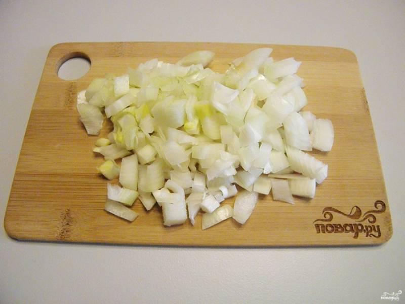 Порежьте лук мелко кубиками. Чем больше лука, тем вкуснее получится. Я положила две небольшие луковички.