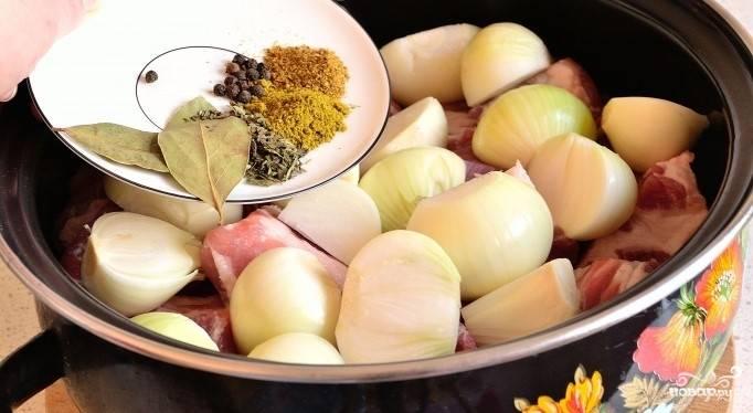3.Возьмите эмалированную кастрюлю, по размерам соответствующую количеству маринуемого мяса. Сложите в нее свинину и лук, перемешайте.