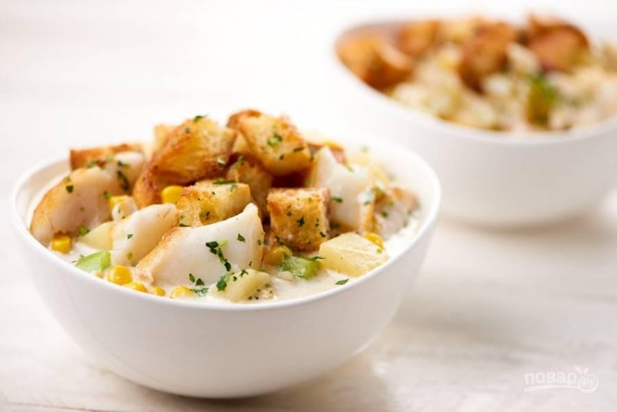 6. Через 2 минуты суп будет готов! Подавайте его с крутонами. Приятного аппетита!