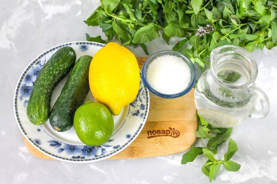 Подготовьте ингредиенты. Воду заранее охладите в холодильнике. Можно использовать минеральную с газом или без, фильтрованную.