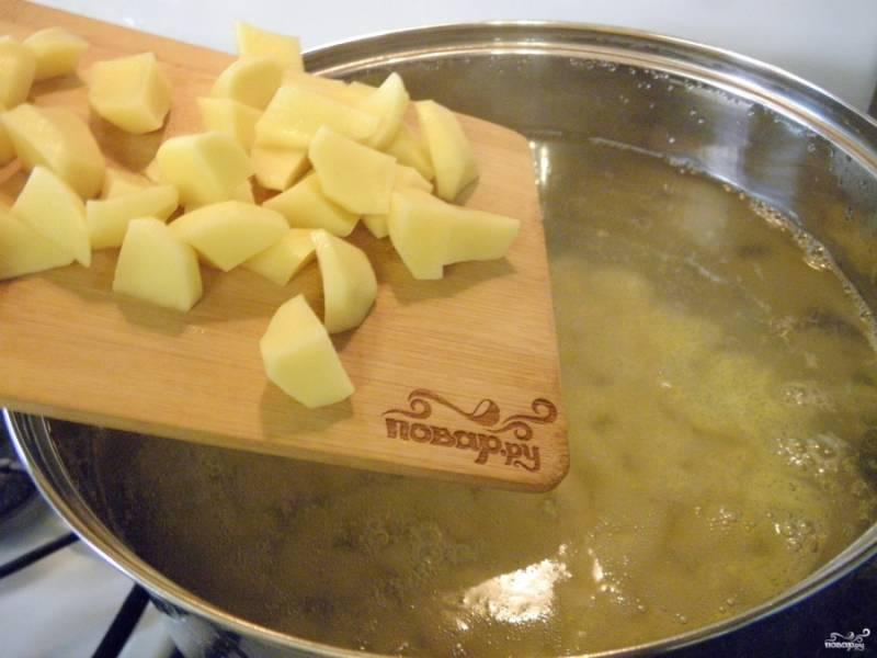 Картофель очистите, вымойте и порежьте не большими кусочками. В кипящую соленую воду положите картофель и проварите 15 минут.