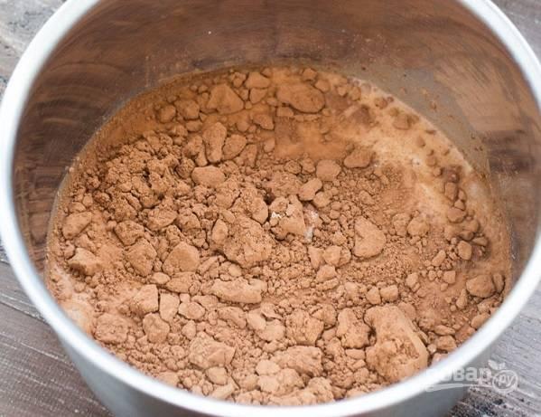 1. Соедините сахар и какао в сотейнике или небольшой кастрюле.