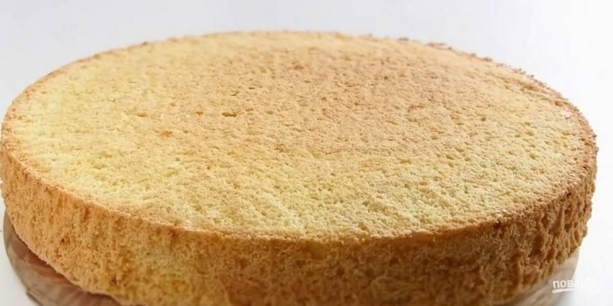 3. Выпекайте в разогретой до 180 градусов духовке 25-30 минут. Выдержите бисквит при комнатной температуре в течение 2-4 часов. Приготовьте суфле: желатин залейте холодной водой и оставьте набухать.