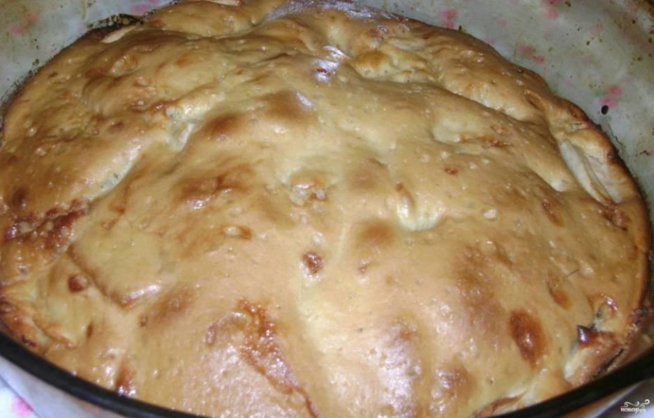 6.Готовый пирог достаем из духового шкафа, сразу не вынимаем из формы, иначе пирог может развалиться. Даем немного остыть. Через пару минут достаем из формы и подаем.
