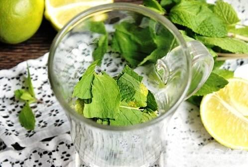 Мяту тоже надо помыть и обсушить. Отрываем листики со стебля, выкладываем их в высокий бокал. Листья можно помять в руках или же использовать пестик и примять прямо в бокале.