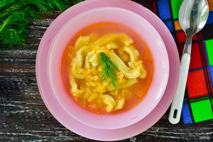 Получился вот такой гороховый суп с лапшой! Приятного аппетита!