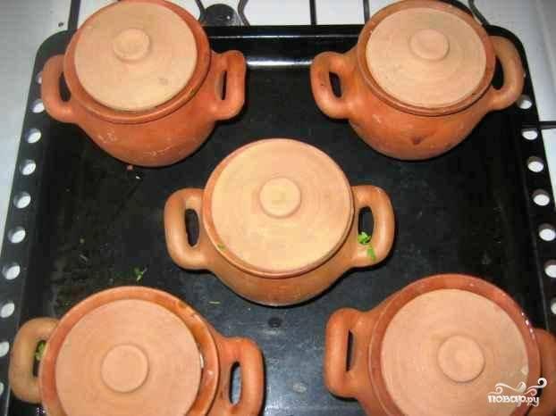 Накрываем горшочки крышками - и на 1 час 10 минут в духовку (температура - 150 градусов).