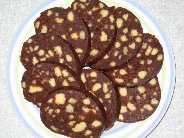 """Пирожное """"Колбаска"""" из печенья"""