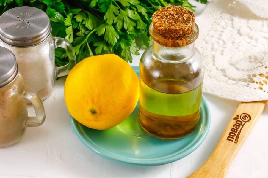 Подготовьте указанные ингредиенты. Масло можно использовать оливковое, подсолнечное, льняное, кукурузное и т.д., по вашему вкусу.