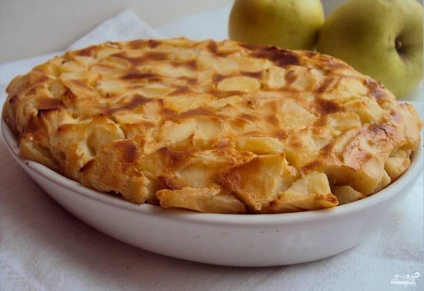 2.Выпекайте в разогретой до 180 °C духовке около получаса. Готовую яблочную запеканку слегка остудите и присыпьте оставшейся сахарной пудрой. Приятного аппетита!
