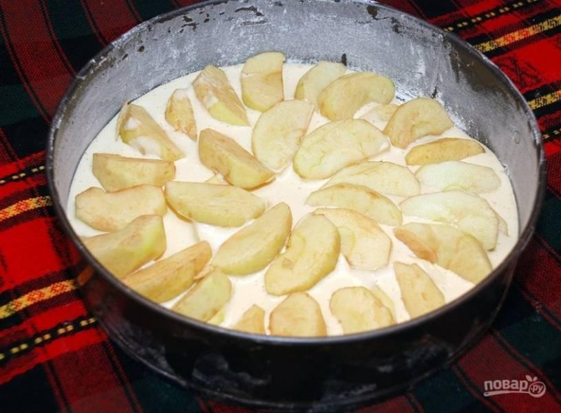 Духовку разогрейте до 180 градусов. Форму для выпечки смажьте растительным маслом и присыпьте мукой. Выложите на дно половину яблок. Наверх налейте тесто, а сверху опять уложите яблоки.