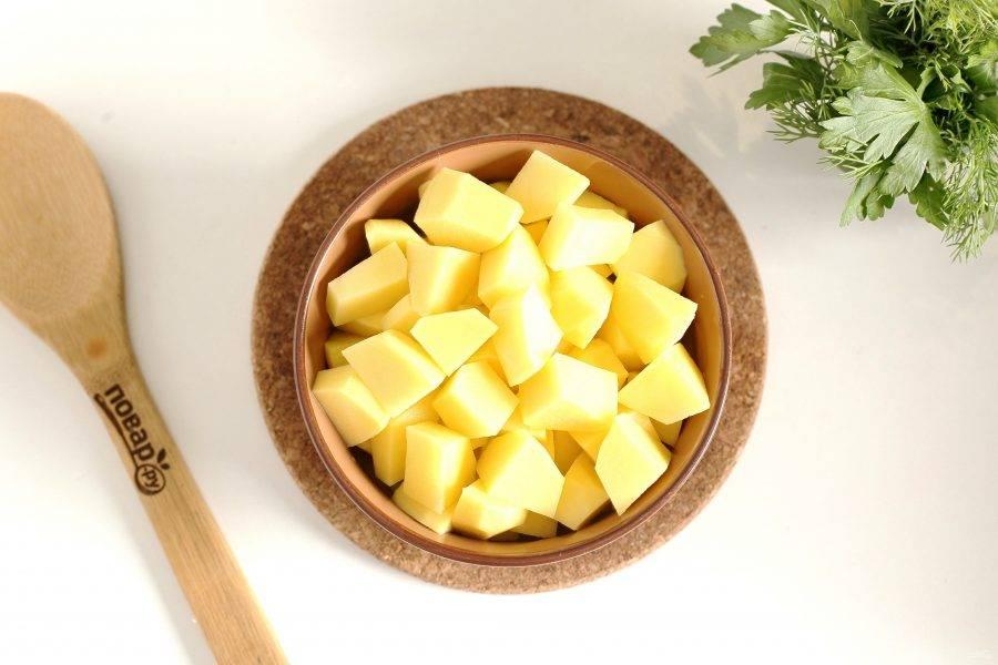 Затем добавьте картофель, нарезанный кубиками и варите все вместе до полной готовности всех ингредиентов.