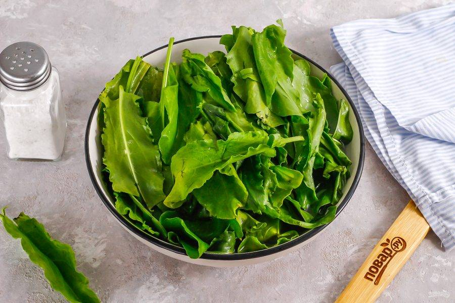Разберите пучки щавеля, удалите потемневшие или желтые листья, срежьте стебли и выложите в глубокую емкость. Залейте холодной водой и промойте.