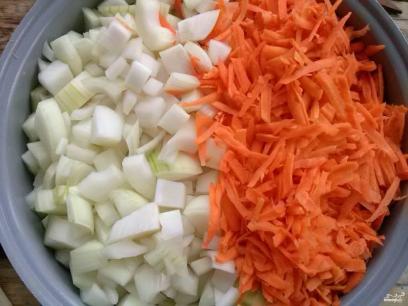 Лук очистите и порежьте кубиками. Морковь очистите, натрите на крупной терке. Добавьте её к кабачкам.