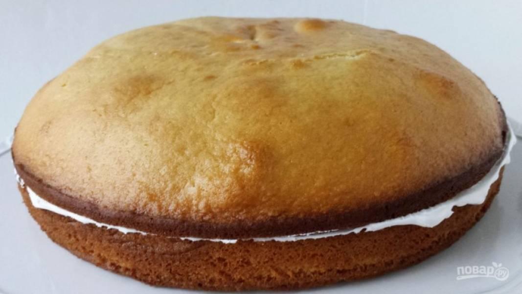 15.Вторым белым коржом накрываю бисквитный торт.
