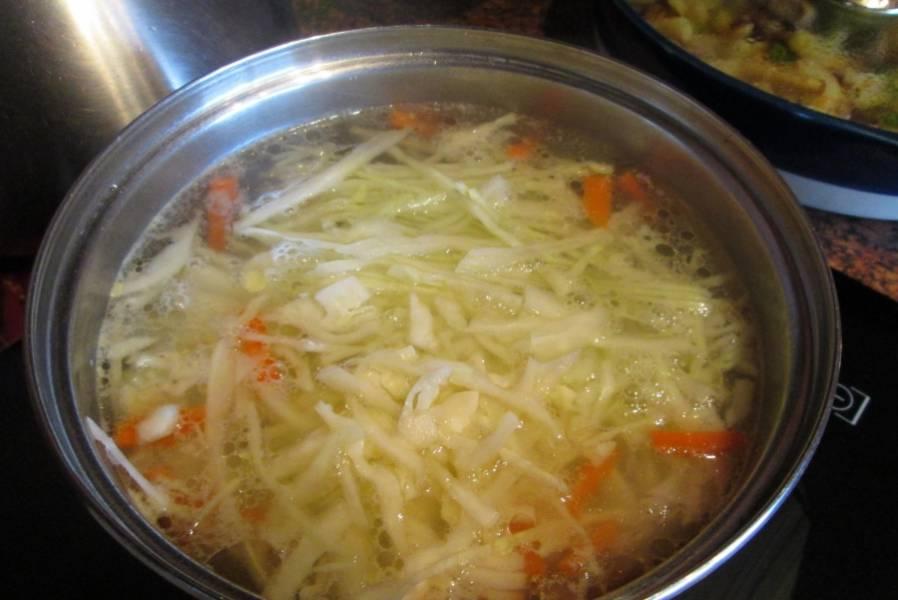 3. Когда картошка почти уже будет готова, - добавляем мелко порубленную капусту. При необходимости добавим еще соли и приправ. Варим до готовности.
