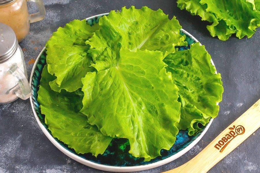 Промойте листья салата и стряхните с них лишнюю влагу. Выложите на тарелку веером.