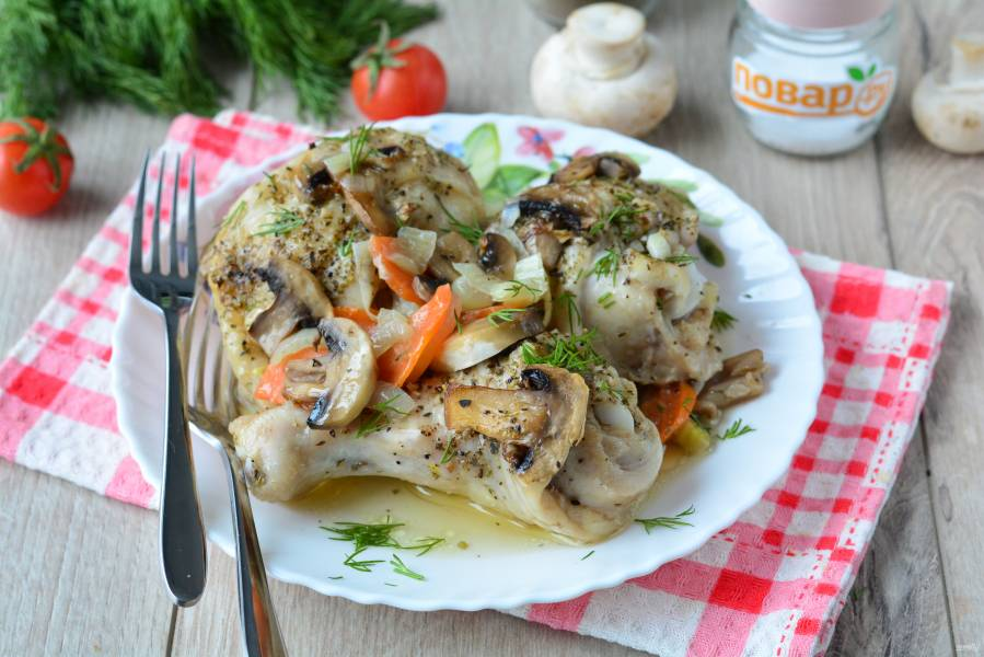 Курица с грибами в фольге