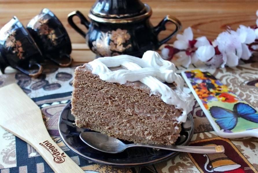 Торт нарежьте и подавайте к столу. Приятного чаепития!