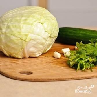 1. Приготовьте все овощи для салата. С капусты сорвите верхние листы, петрушку и огурец промойте, чеснок очистите от кожицы.