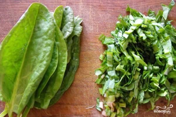 2. Пока варятся овощи, необходимо приготовить щавель. Уберите вялые листья, отрежьте жесткие стебли и помойте зелень. Мелкой соломкой порубите щавель. Отварите яйца вкрутую.