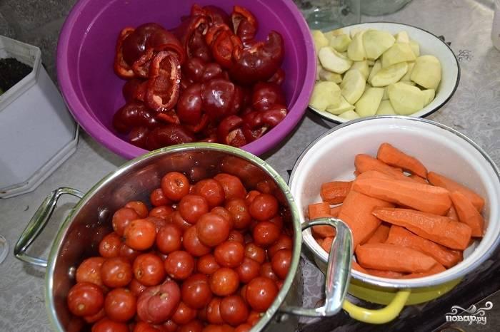 Подготовьте ингредиенты: яблоки порежьте дольками, перец очистите от семечек, промойте помидоры. Также промойте все другие овощи. Морковку, например, тоже почистите от кожуры.