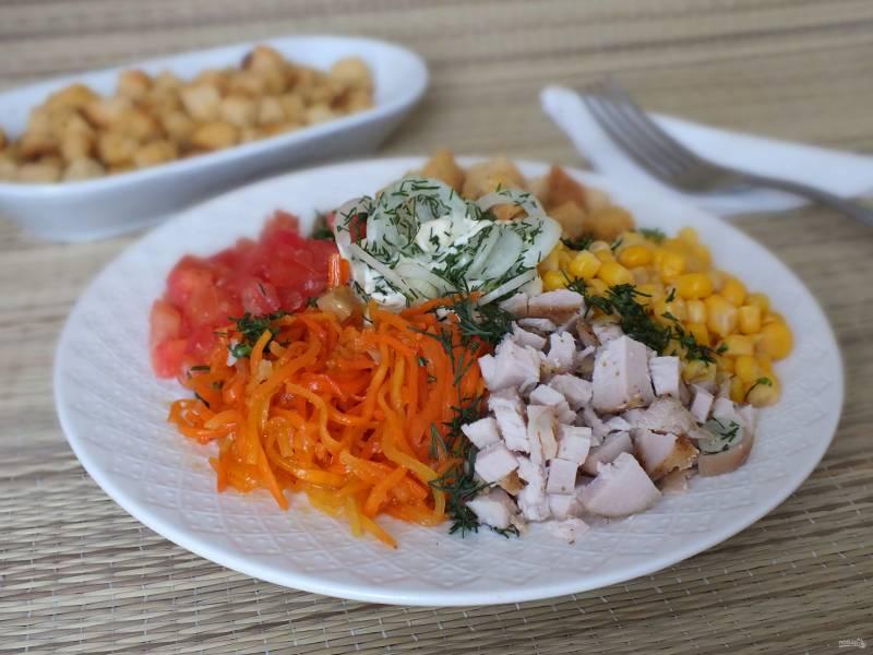 """Салат """"Эдельвейс"""" с корейской морковью"""