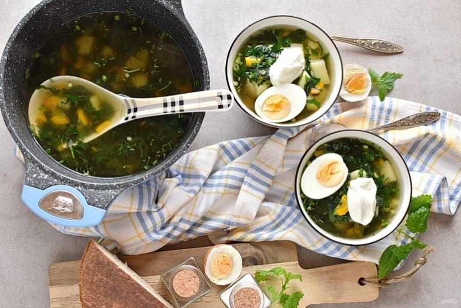 Подаем суп с крапивой, добавив в тарелки вареные яйца половинками и свежую сметану.