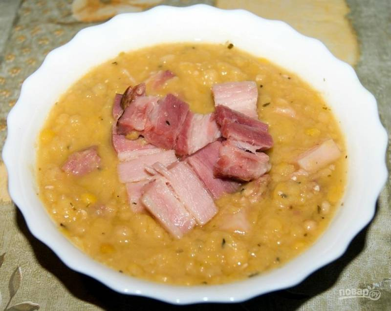 Гороховый суп-пюре с ветчиной