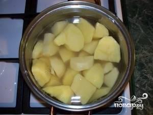 Чистим картофель, нарезаем на части и ставим варить. Как закипит - солим. Варим до готовности.