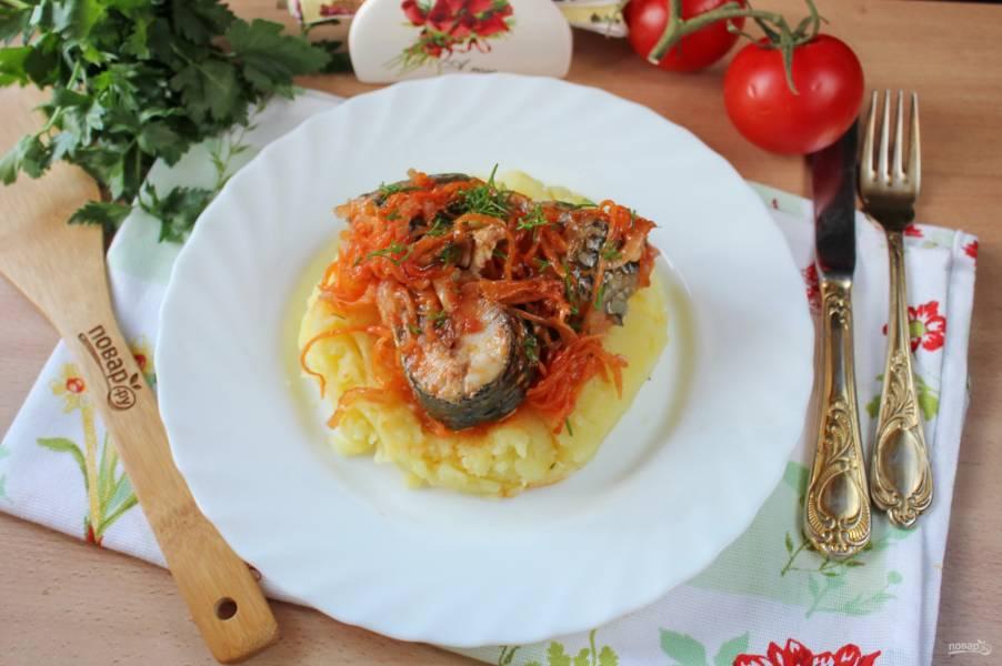 Пеленгас в томатном соусе в духовке