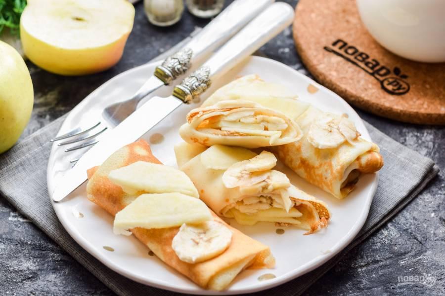 Блинчики с яблоком и бананом