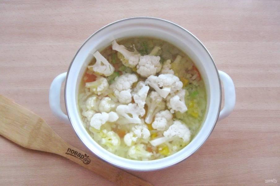 Цветную капусту разберите на соцветия и выложите в кастрюлю. Посолите суп по вкусу.