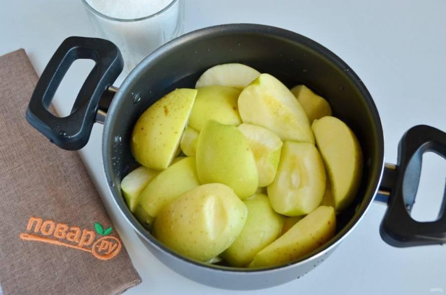 2. Порежьте яблоки крупно, залейте водой и доведите до кипения, варите 30 минут на минимальном огне.