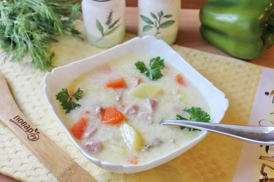 Суп с бужениной готов. Подавайте на первое в обед в горячем виде.