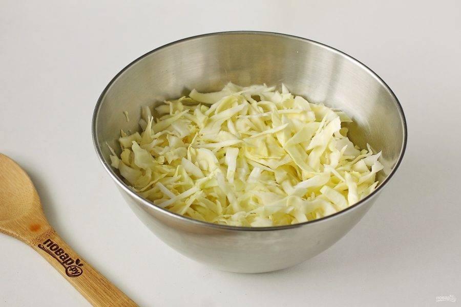 Капусту тонко нашинкуйте и сложите в глубокую миску.