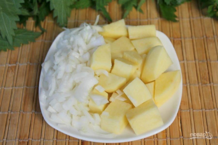 Добавляем картофель и мелко порезанный лук. Солим и варим до готовности.