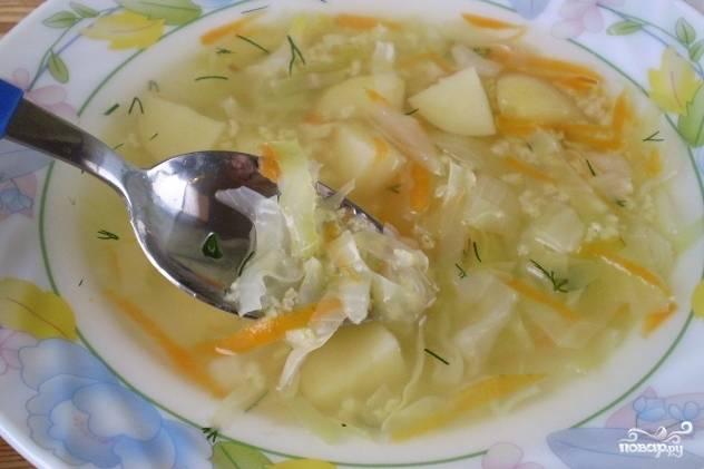 Вегетарианские щи из свежей капусты