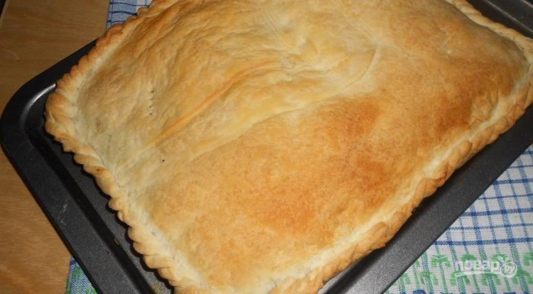 Духовку разогрейте до 200 градусов и выпекайте пирог 30 минут до золотистого цвета. Приятного аппетита!